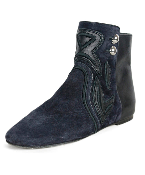 Isabel Marant Navy Suede Embroidery Booties Sz 39