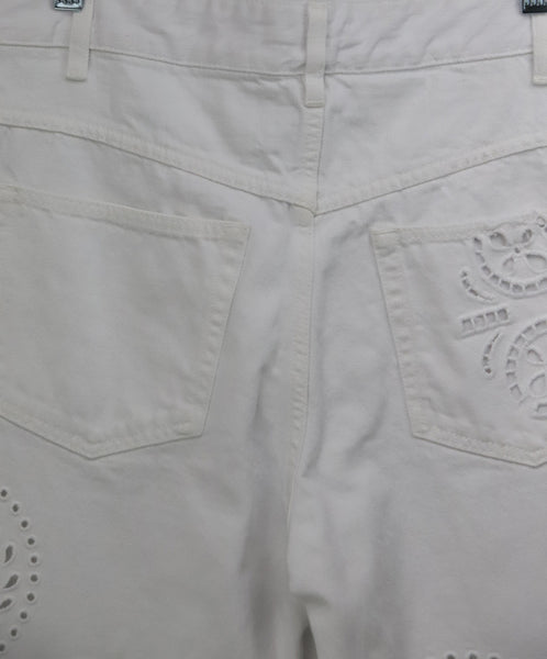 Isabel Marant White Denim Pants with Eyelet Detail 4
