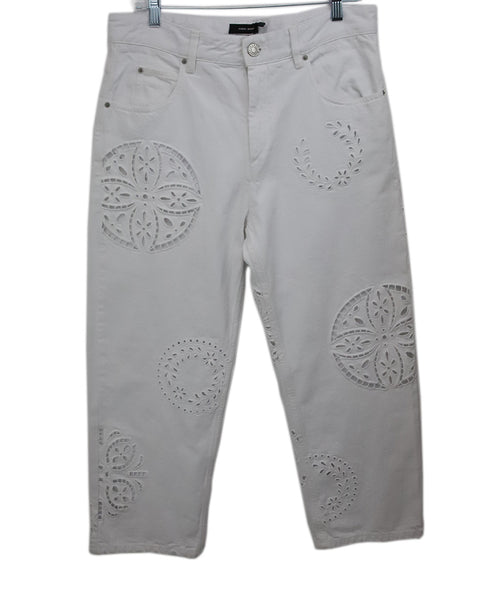 Isabel Marant White Denim Pants with Eyelet Detail 1