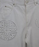 Isabel Marant White Denim Pants with Eyelet Detail 5