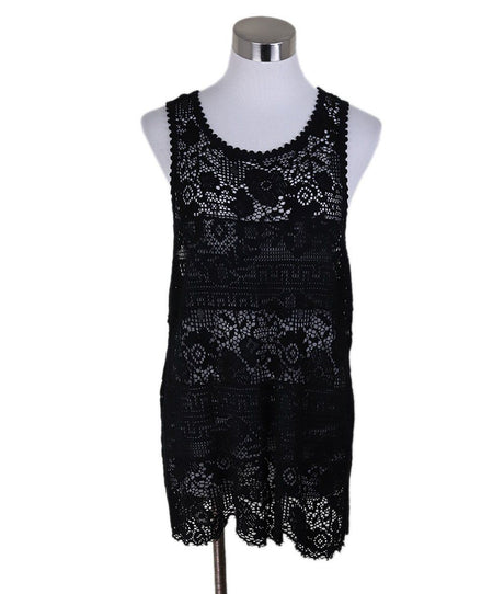 Jil Sander Navy Sleeveless Blouse with Black Beaded Detail on Neck SZ 4