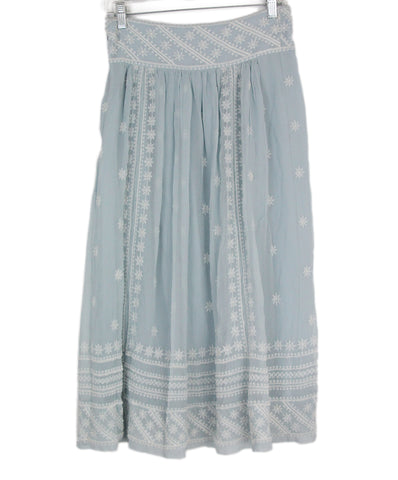 Isabel Marant blue ivory silk embroidered skirt 1
