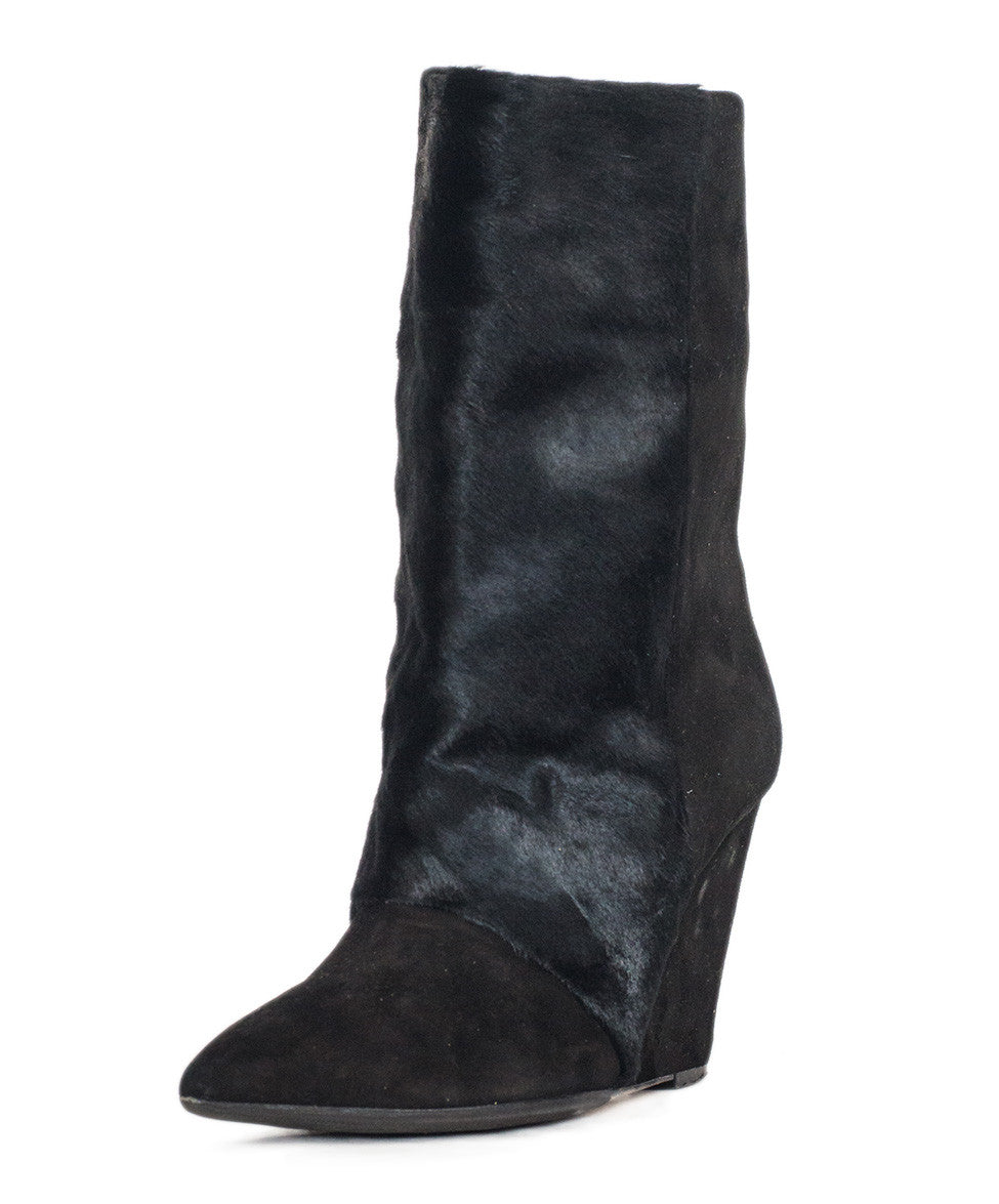 Isabel Marant Black Suede & Pony Hair Wedge Boots Sz 39 - Michael's Consignment NYC  - 1