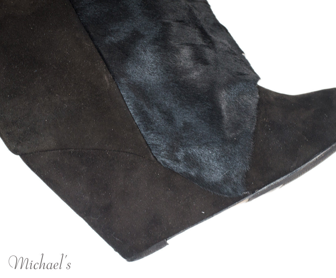 Isabel Marant Black Suede & Pony Hair Wedge Boots Sz 39 - Michael's Consignment NYC  - 8