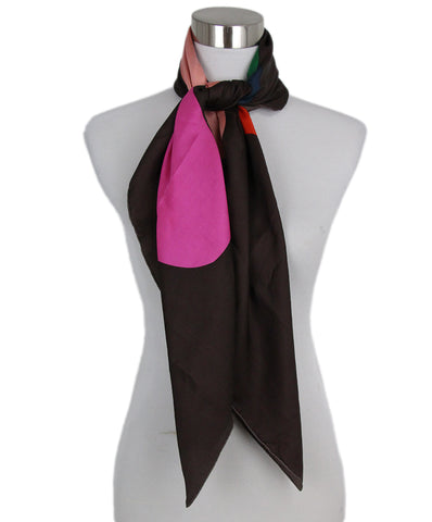 Isabel Marant Brown Multicolor Silk Scarf 3