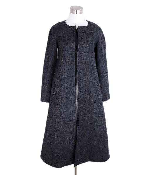 Isabel Marant Charcoal Wool Leather Trim Coat 1