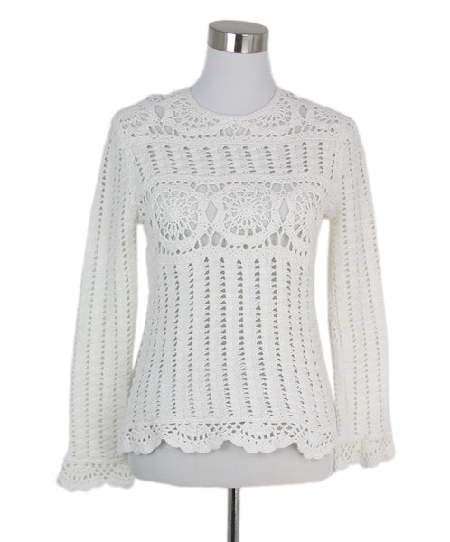 Isabel Marant white cotton crochet sweater 1