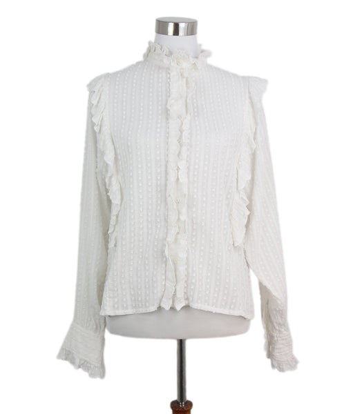 Isabel Marant white cotton ruffle trim top 1