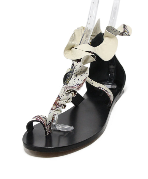Isabel Marant white navy burgundy print ruffle sandals 1