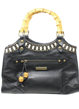 Isabella Fiore Black Leather Handbag 1