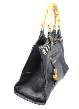 Isabella Fiore Black Leather Handbag 2