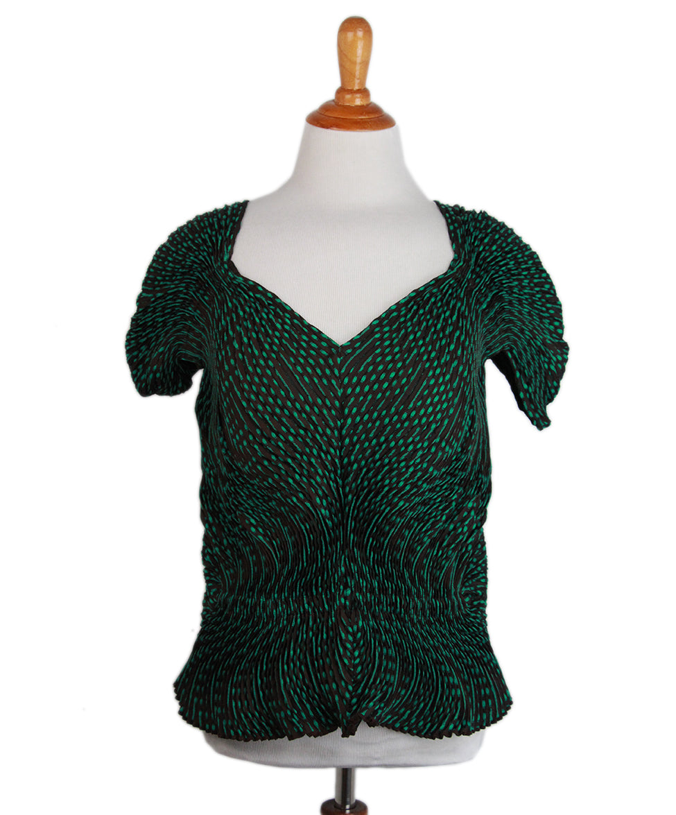 Issey Miyake Green Brown Pleated Top 1