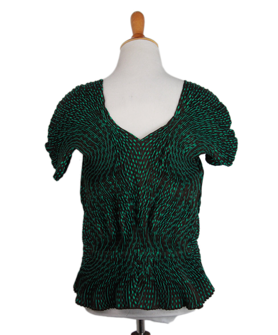Issey Miyake Green Brown Pleated Top 3