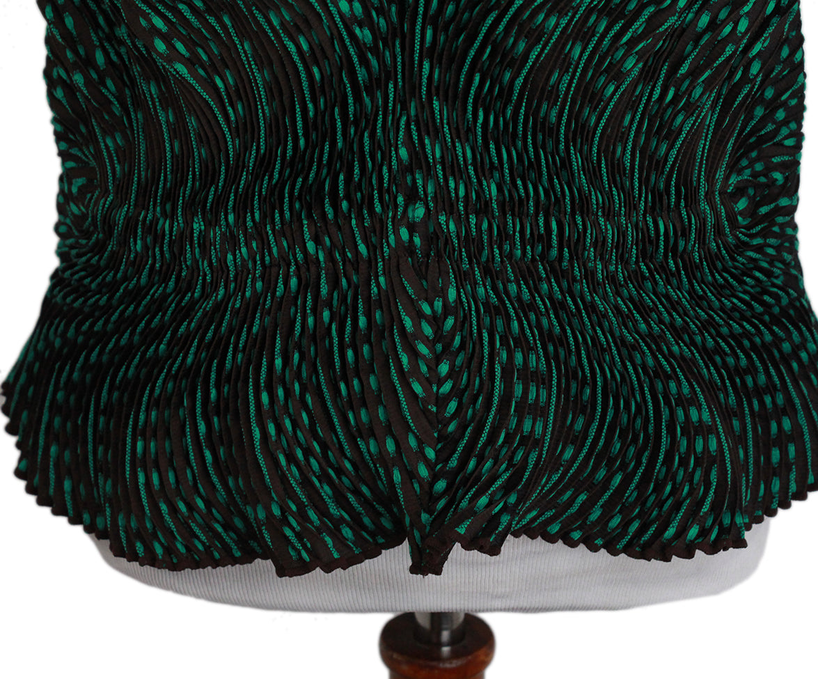 Issey Miyake Green Brown Pleated Top 4