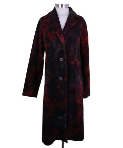 Issey Miyake Red Black Green Wool Coat 1