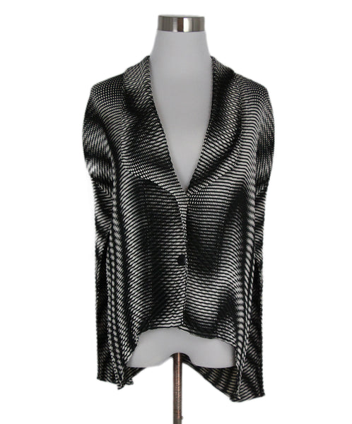 Issey Miyake Black White Pleated Polyester Jacket 1