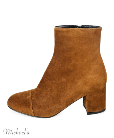 Barney's New York Brown Suede Booties Sz 36.5