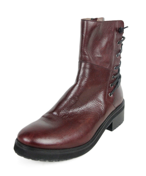 Burgundy Leather Booties Sz 38