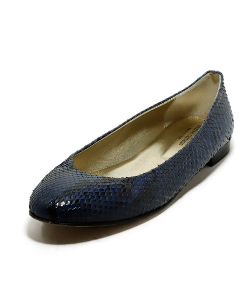 Andrea Carrano Made in Italy Black Navy Snake Skin Flats 1