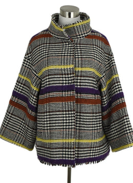 Italy Black White Purple Yellow Plaid Wool Coat 1