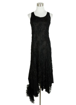 Ivan Grundahl Black Linen Beaded  Tulle Trim Evening Dress 1