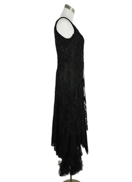 Ivan Grundahl Black Linen Beaded  Tulle Trim Evening Dress 2