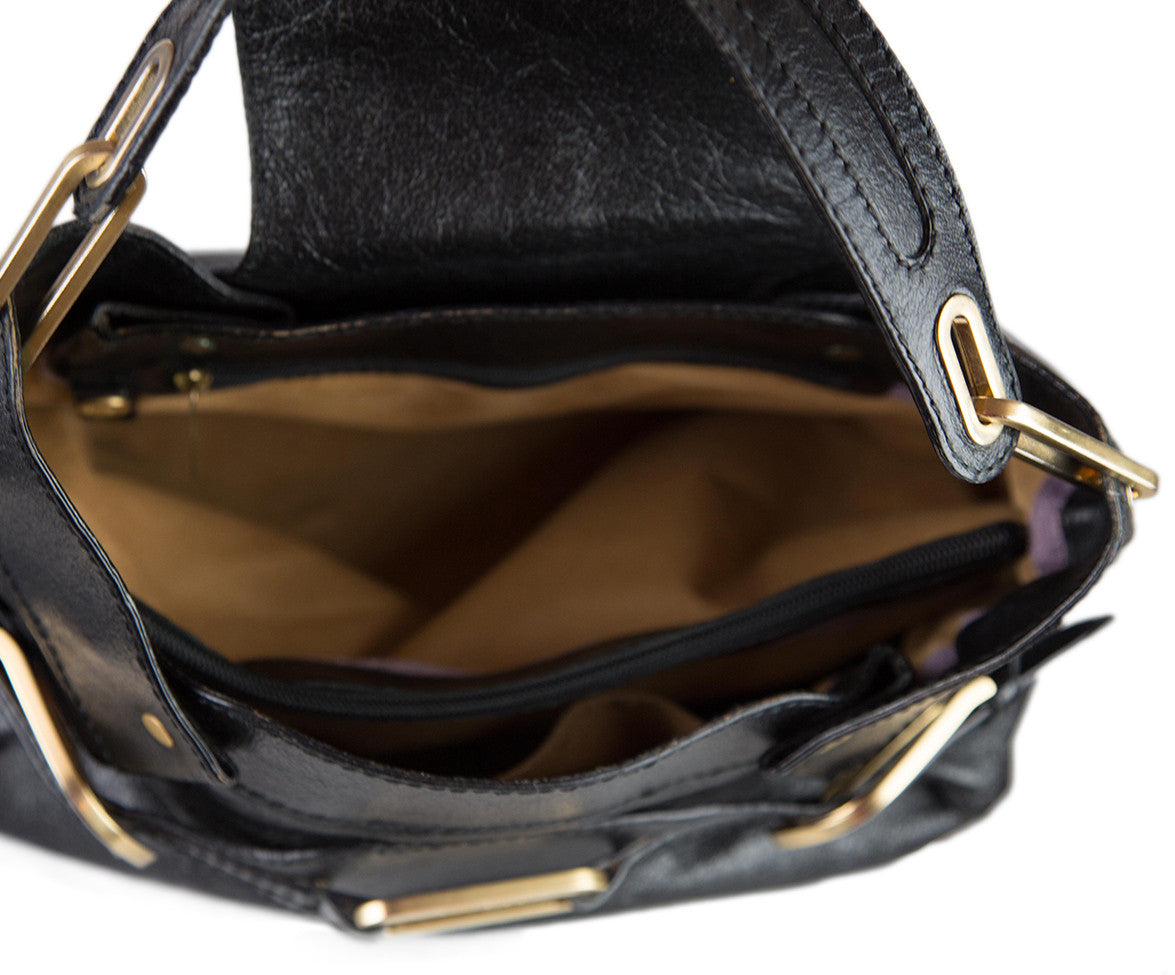 Jimmy Choo Black Leather Gold Handbag