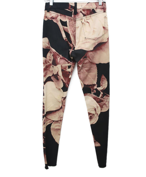 J Brand Neutral Tan Purple Floral Photo Print Black Jeans 2