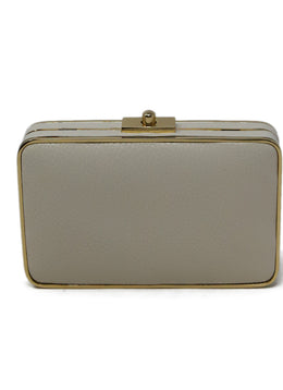 J. Mclaughlin Neutral Cream Leather Clutch 1