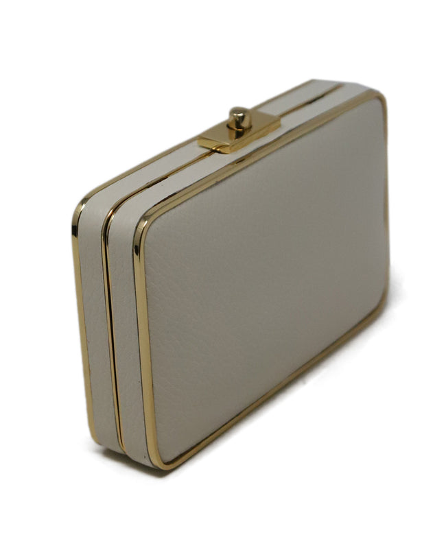 J. Mclaughlin Neutral Cream Leather Clutch 2