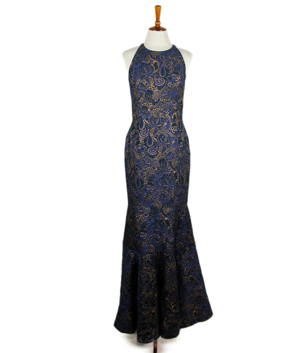 J. Mendel Blue Black Gold Gown - Michael\'s Consignment NYC
