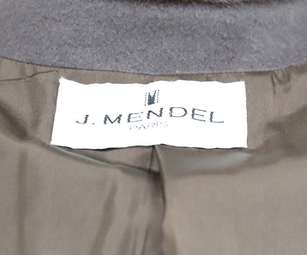 J. Mendel Brown Cashmere Mink Collar Coat 4