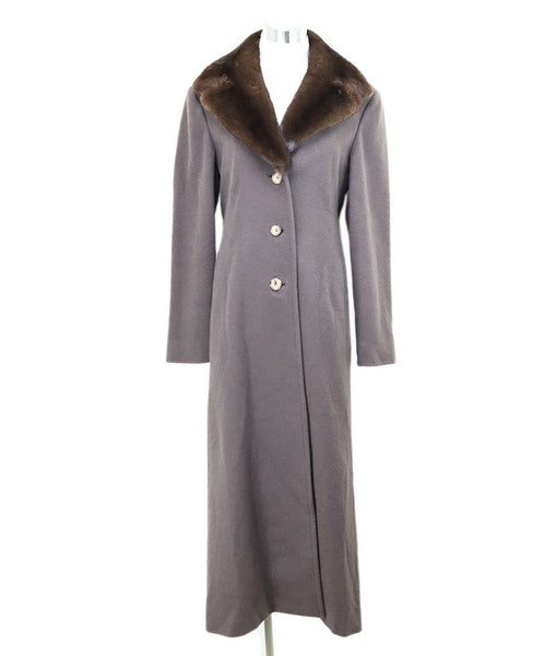 J. Mendel Brown Cashmere Mink Collar Coat