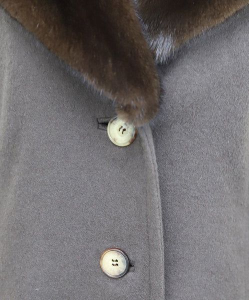 J. Mendel Brown Cashmere Mink Collar Coat 5