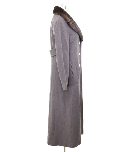 J. Mendel Brown Cashmere Mink Collar Coat 1