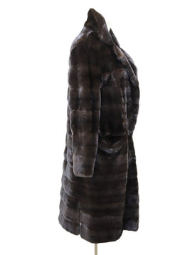 J. Mendel Brown Mink Fucshia Silk Lining Coat 1
