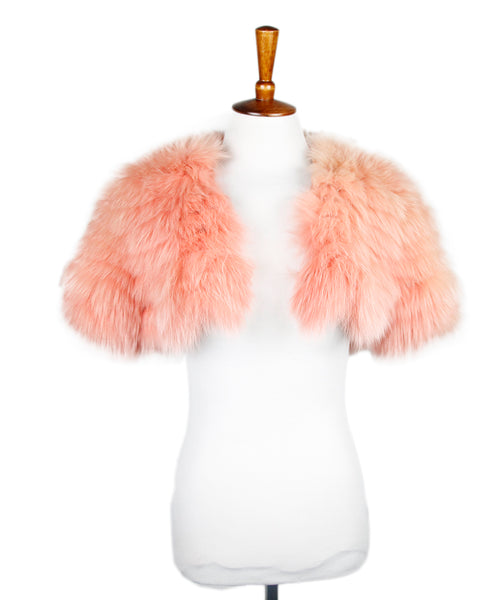 J. Mendel Coral Fox Silk Shrug Sz 6