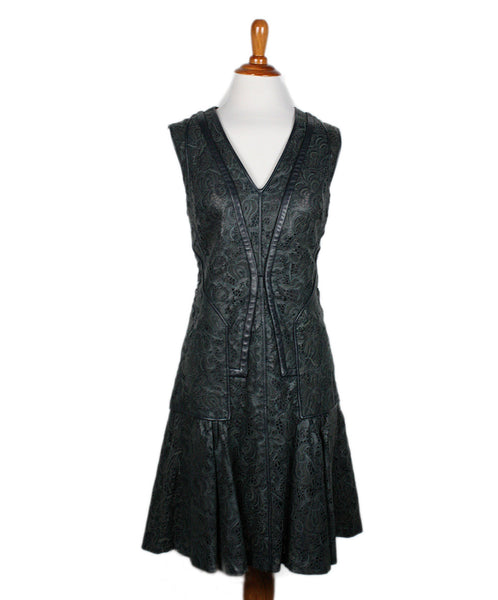 J. Mendel Olive Green Cutwork Leather Dress Sz 4 - Michael's Consignment NYC  - 1