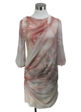 J.Mendel Pink White Print Silk Dress with Sheer Sleeves and Low Back 1