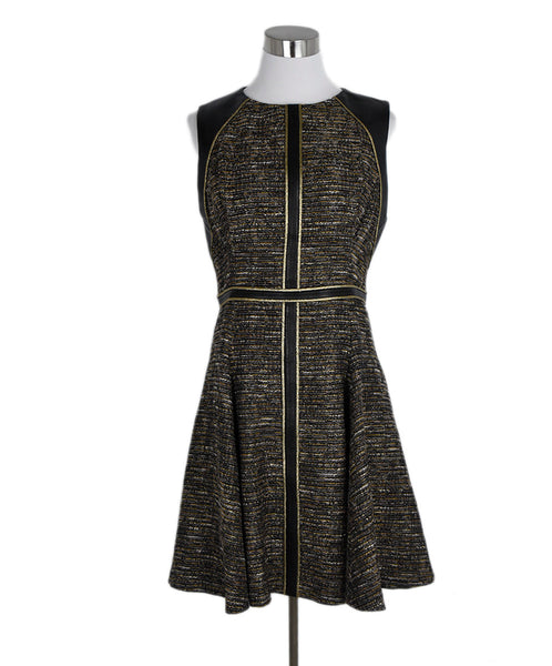 J. Mendel Black Gold Tweed Leather Trim Dress 1