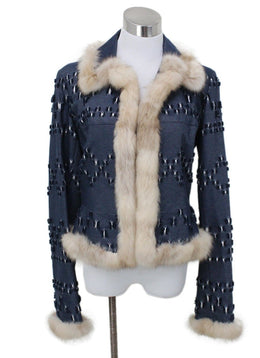 J. Mendel Blue Denim Cotton Fur Jacket