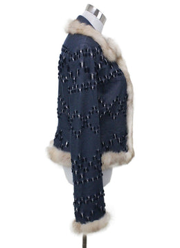 J. Mendel Blue Denim Cotton Fur Jacket 1