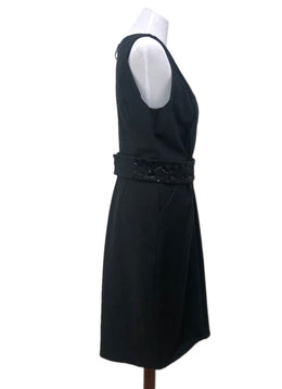 J. Mendel Size 14 Grey Charcoal Wool Black Beaded Trim W/Belt Dress