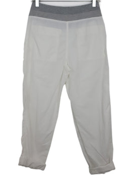 James Perse White Cotton Pants with Cord Tie 1