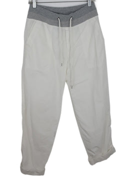 James Perse White Cotton Pants with Cord Tie 2