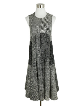 Jason Wu Black White Plaid Wool Zipper Trim Dress 1