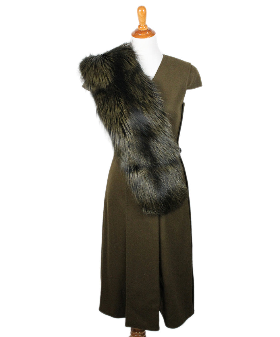 Jason Wu Olive Wool Black W/ Belt and Fox Collar Dress Sz 6 - Michael's Consignment NYC  - 1