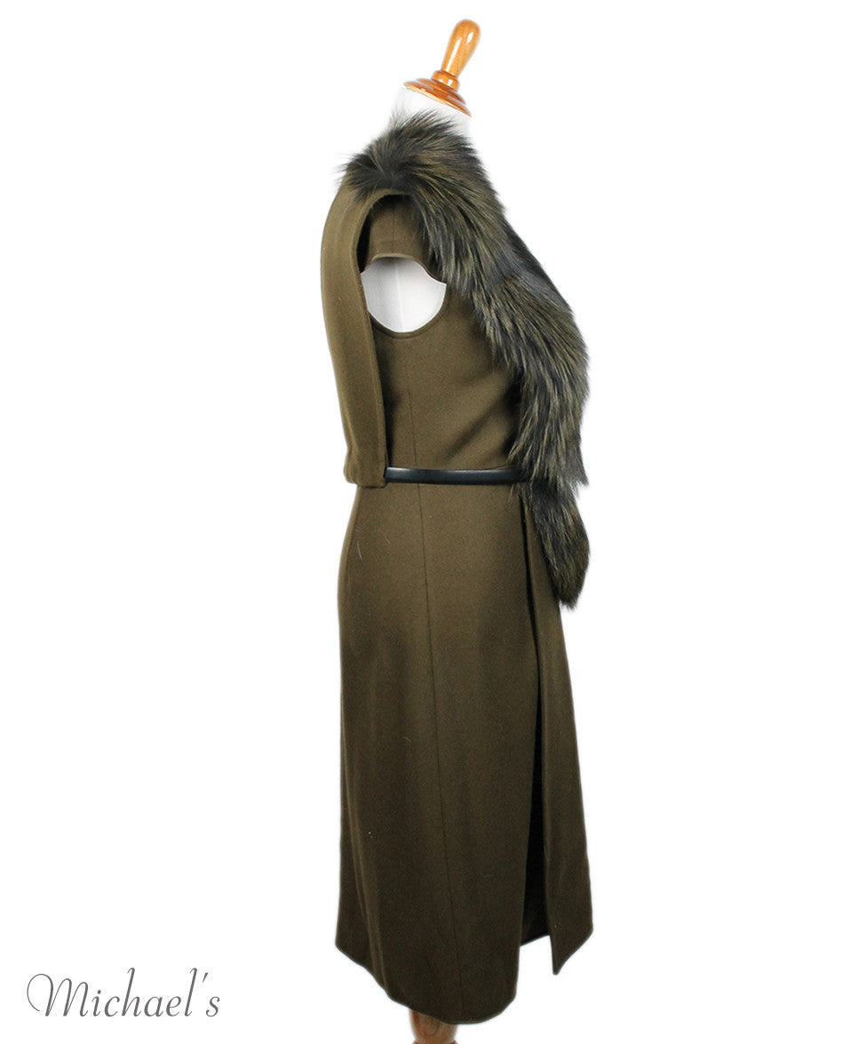 Jason Wu Olive Wool Black W/ Belt and Fox Collar Dress Sz 6 - Michael's Consignment NYC  - 2