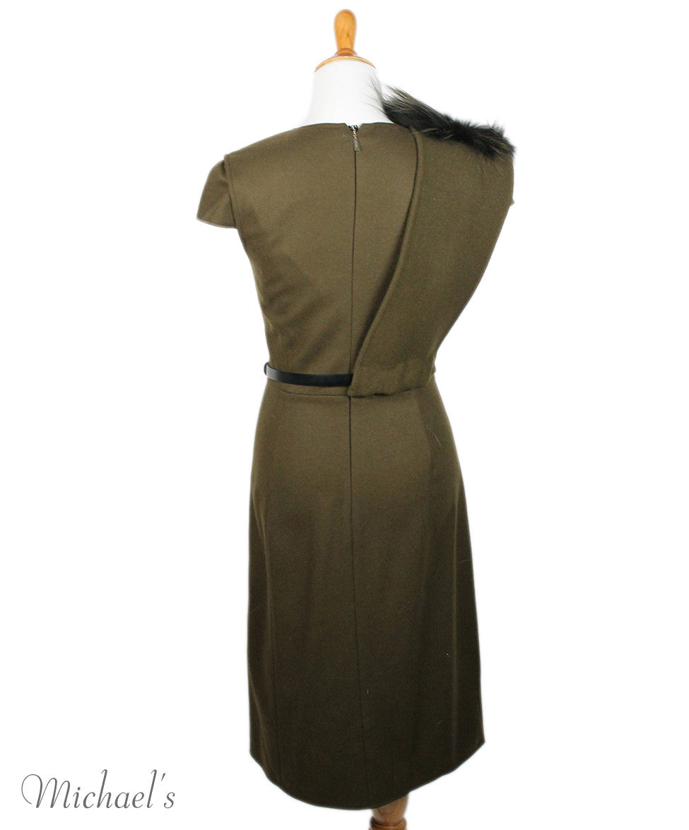 Jason Wu Olive Wool Black W/ Belt and Fox Collar Dress Sz 6 - Michael's Consignment NYC  - 3