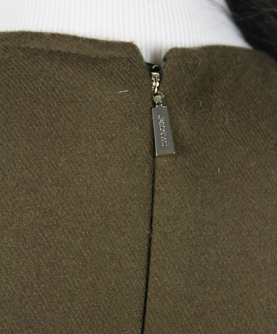 Jason Wu Olive Wool Black W/ Belt and Fox Collar Dress Sz 6 - Michael's Consignment NYC  - 4